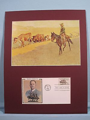 """Trailing Texas Cattle"" painted by Frederic Remington  & First Day Cover"