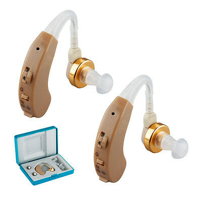 2* Mini Digital Hearing Aid Aids in the Ear Sound Voice Amplifier + Batteries