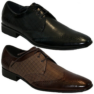 Mens Smart Brogue Wedding Shoes Italian Formal Office Work Casual Party Dress