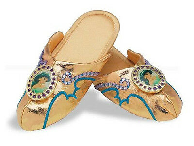 Jasmine Slippers Disney Princess Aladdin Gold Shoes Halloween Costume Accessory