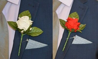 Artificial IVORY & RED Silk Rose with Diamante, Wedding Groom Buttonhole Flower