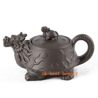 Purple Grit Turtle and Dragon Teapot Top Purple Clay Tea Pot Chinese Pottery