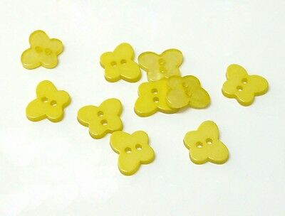 40pcs 11mm Yellow Colour Butterfly Shape Button for Sewing/Scrapbooking SB0121