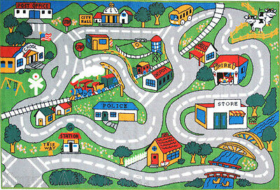 """4'3""""x6'6""""  Rug  Kid's  Play  Road  Map Street  Country Driving Time  New 5x7"""