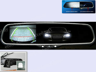 """Auto dim mirror+backup camera 3.5"""" dispaly,fits Ford,Nissan,GM,include a camera"""