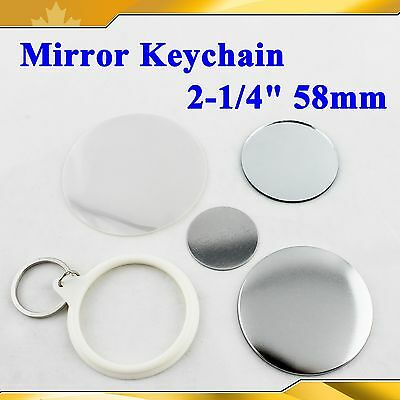 "Mirror Keychain 58mm 2-1/4"" Supplies 100sets For Pro Button maker Commercia DIY"