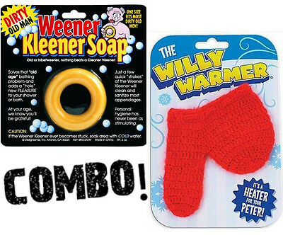 1 New Willy Warmer + 1 Weener Kleener Dirty Old Man Soap - Gag Gift Joke Prank