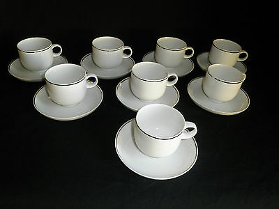 Mid Century Rosenthal Studio Line - 8 Cups & Saucers - White with Platinum Band