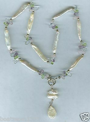 Genuine Biwa Pearl & Crystal Handmade Necklace ~ A Beautiful Find & GREAT Gift!