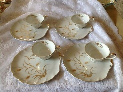 Lefton China - GOLD WHEAT GRASS Handpainted Snack Set -4 plates w/ matching cups