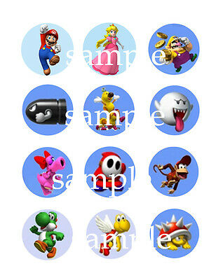Assorted Super MARIO Bros Edible CUPCAKE Toppers Icing Image Circles 24