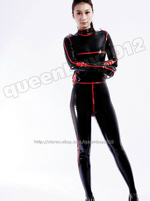 100%Latex Rubber Gummi .45mm Binder Bodysuit Suit Catsuit Unitard Buckle Leotard