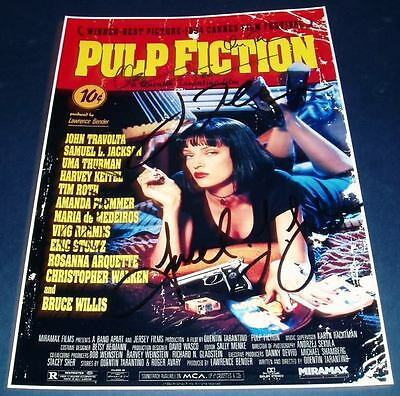 PULP FICTION CAST x7 PP SIGNED POSTER 12X8 TARANTINO N2