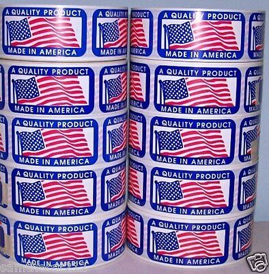 5000 1 x 2 MADE IN AMERICA  USA AMERICAN FLAG LABEL STICKER