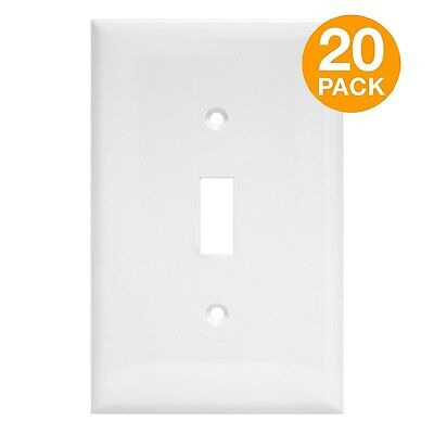 20PC Toggle Switch Wall Plate Unbreakable Single 1-Gang Outlet Cover White