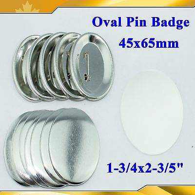 "DIY Oval 1-3/4x2-3/5"" Pin Badge Button Parts Supplies 45x65mm Button Machine"