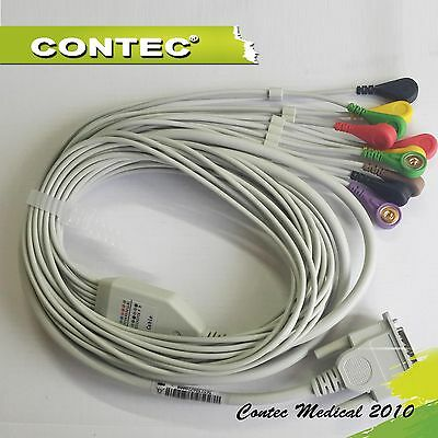 A TYPE ECG EKG Cable one twelve lead wire Electrocardiograph Gilding Snap DB15