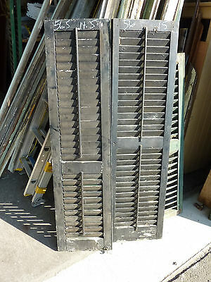 """PaiR victorian louvered house SHUTTERS black & green 56 & 56.5"""" h x 14.5 & 15"""" w"""