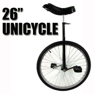 """Black XL 26"""" Unicycle Fitness Pro Fun Uni Cycle Scooter Circus Bike Youth Adult"""
