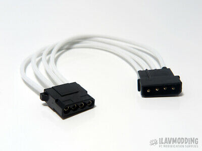 Single Sleeved 20cm WHITE PC Molex IDE 4pin Extension Cable