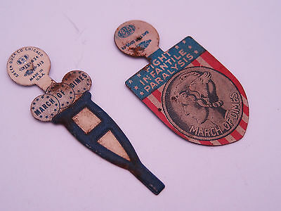 Antique Vintage US March Of Dimes Pin Backs / Union Label Green Duck Co. USA