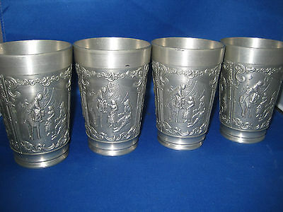 "Lot 4  4.5"" Antique West German Solid Pewter Embossed Engraved Cups 4 Scenes"