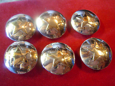 "Set 5 Sterling Silver 1"" with Brass Star Center Conchos"