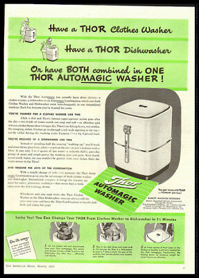 1947 vintage ad for Thor Automatic Washers -1223