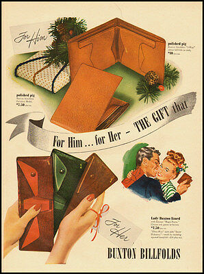 1940s vintage ad for Buxton Billfolds and Wallets  -120911