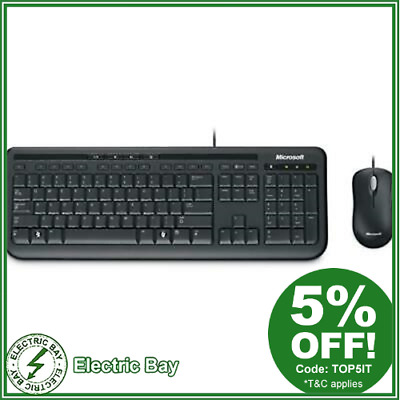 Microsoft Wired Desktop 600 Keyboard and Mouse Combo Membrane Standard NEW