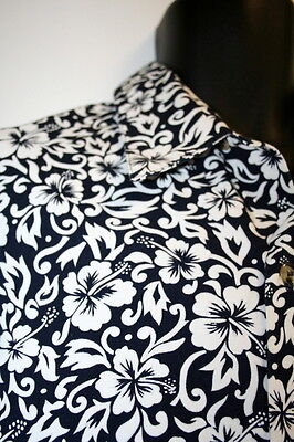 Chefwear Floral Large Short Sleeve Button Front Shirt Blue Cotton Discontinued
