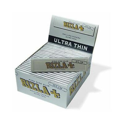 RIZLA SILVER KING SIZE CIGARETTE ROLLING PAPERS 110mm ROLL YOUR OWN KINGSIZE