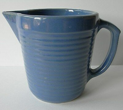 ~ Pretty Antique Blue Monmouth Pottery Pitcher Illinois Pottery Ribbed Stone ~