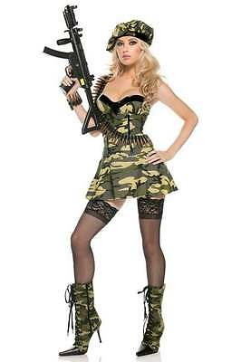 Be Wicked 3pc Commando Camo Bustier Military Soldier Women/'s Costume BW1056
