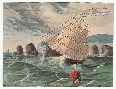 Sailing ship on 1879 trade card for A.D. Farwell Clothing and Gent's Furni [4778