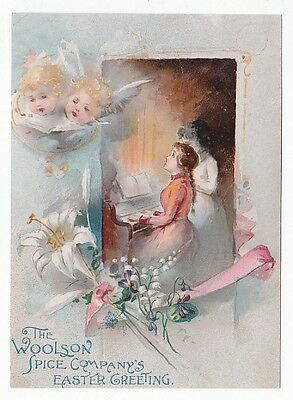"Trade card for the Woolson Spice Co. ""Easter Greeting"" with lilies, angels [4770"