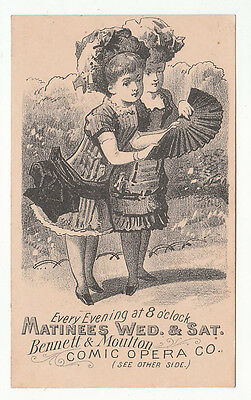 2 ladies examining a folding fan on trade card for Bennett & Moulton Comic [5023