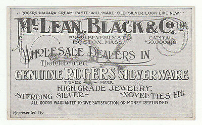 Trade card for McLean, Black & Co, Inc., Boston, Mass. Rogers Silverware,  [5100