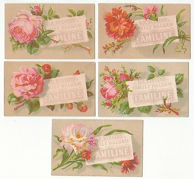 5 floral trade cards for H.R. Stevens' Family Balsam Familine. [5381