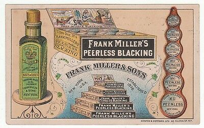 Trade card for Frank Miller & Sons Peerless Blacking for Boots and Shoes. [5449