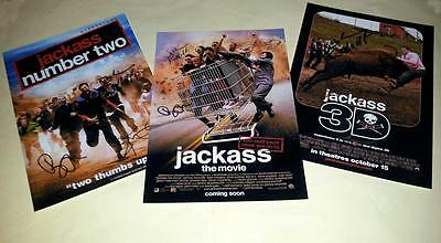 """Jackass Set Of 3 Cast Pp Signed 12""""x8"""" Posters Johnny Knoxville"""