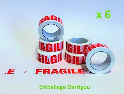 Lot 6 Rouleaux Adhesif Scotch Emballage Fragile 50 Mm X 100 M Emballage