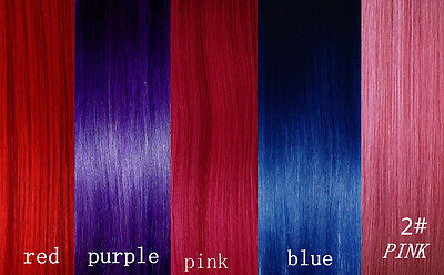 CLIP IN REMY REAL HUMAN HAIR EXTENSIONS*1pc Single Clip*PURPLE*BLUE*RED*PINK 60#