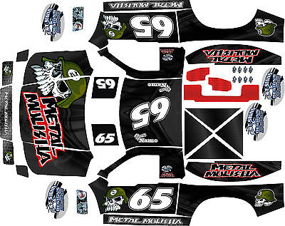 HPI Baja 5SC and 5T  Black  Metal Theme  body wrap decals stickers skins