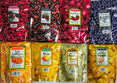 4 PACKS Trader Joe's Natural Unsweetened & Unsulfured Freeze Dried Fruit Healthy