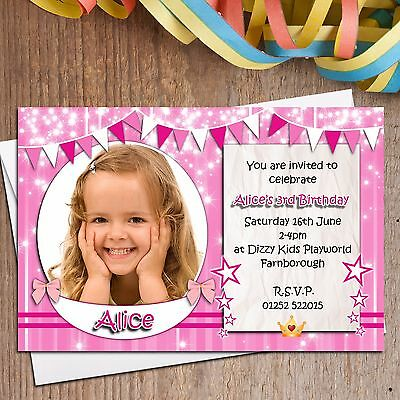 Daughter; Any age or text i054; Special Pink Personalised INVITATIONS for Girl