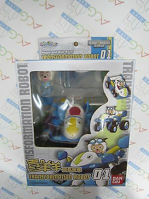 Pleasant Goat and Big Big Wolf Happy & Blue Racer Transformation Robot 01 Figure