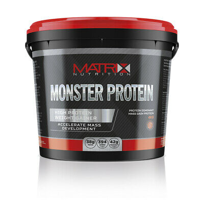 4kg WEIGHT GAINER MATRIX MONSTER PROTEIN  LEAN MUSCLE SERIOUS MASS ALL FLAVOURS