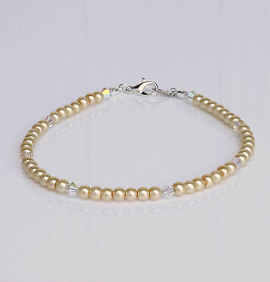 Cream Glass Pearl and Swarovski Crystal Anklet