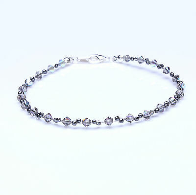 Black Diamond Crystal and Hematite Twisted Anklet made with Swarovski Elements